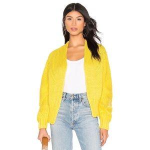 Free People Glow For It Cardi In Lemon Sweater